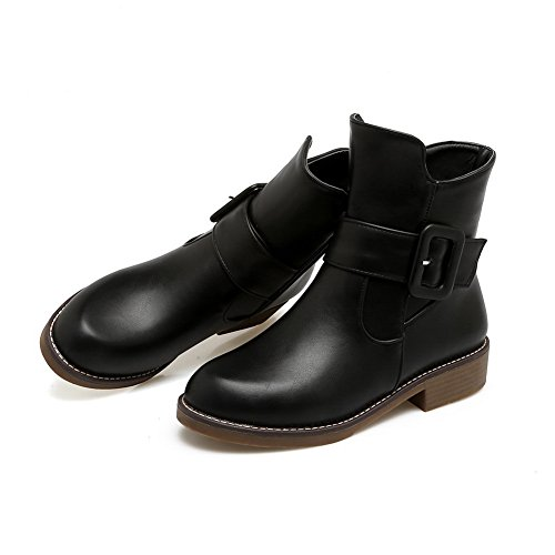 Womens amp;N Warm Boots Road Black Toe Boots Closed Smooth Bootie Ankle No Cuff Heel Closure Urethane DKU01842 Low Lining AN A Leather E5fxqfg