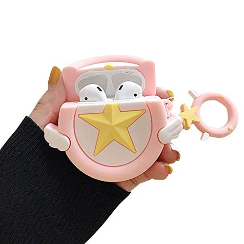ICI-Rencontrer Creative Sweet Girl Pentacle Magic Wand Design Airpods Case Cute Star Zecter AirPods Accessories Wireless Charging Headset Soft Silicone Anti-scratch Protector With Decoration Pink