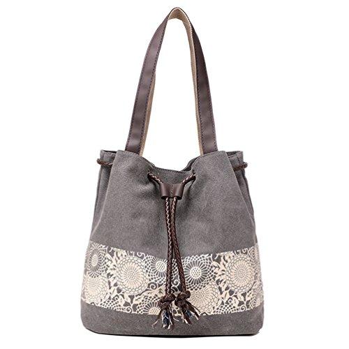 Sanxiner Womens Canvas Tote Bags Drawstring Top Handle Handbags Purse (01Gray)