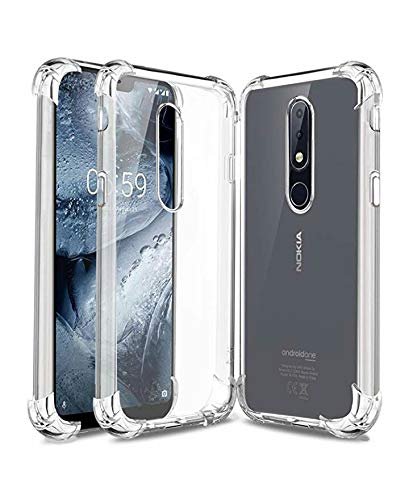the latest 117c9 37827 X wox™ Back Case Cover for Nokia 5.1 Plus Transparent Corner Protection  Bumper Cover