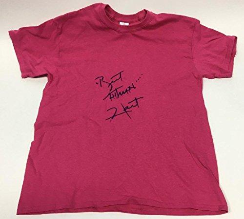 Costume Hitman The Bret (Bret Hitman Hart Autographed Pink Wrestling T-Shirt Costume - Autographed Boxing Miscellaneous)