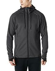 TSLA Men's Performance Active Running Hoodie Full-Zip Hoodie Jacket, Camping Trekking Hiking Training Outwear