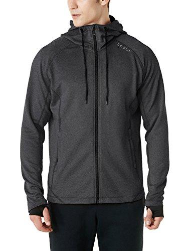 Zipper Sport Jacket - TM-MKJ03-GRY_Large Tesla Men's Performance Active Training Full-zip Hoodie Jacket MKJ03