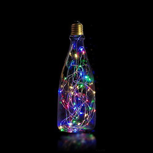 Jslinter Decorative Night Light Bulb, Bottle Shape 1.8W LED Edison Decorations Colorful Starry Fairy Lights, Indoor or Outdoor, E26 Base