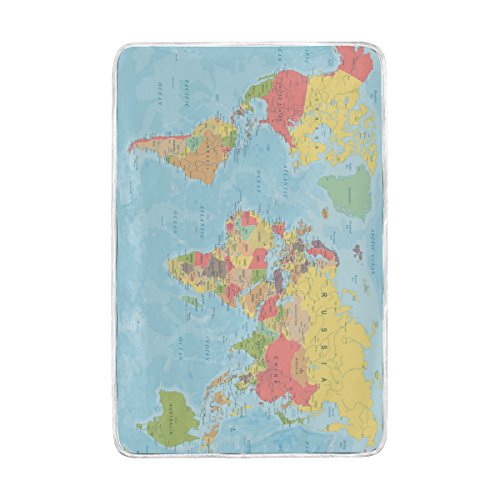 ALAZA Colored World Map Blankets Lightweight Blanket for Adults Men Women Girls Kids Girls Boys Teens Extra Soft Polyester Fabric Super Warm Sofa Blanket Throw Size 60 x 90 Inch (Multi Coloured Scarf)
