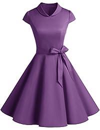 Dresstells® Retro Cap Sleeves 50s Rockabilly Hepburn Swing Dress