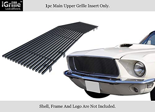 1968 Mustang Grille - APS Compatible with 1967-1968 Ford Mustang Stainless Steel Black Horizontal Billet Grille Insert