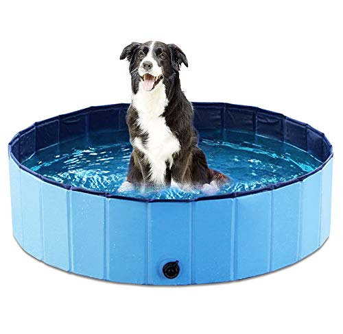 Jasonwell Foldable Dog Pet Bath Pool Collapsible Dog Pet Pool Bathing Tub Kiddie Pool for Dogs Cats and Kids (32inch.D x 8inch.H, Blue)]()