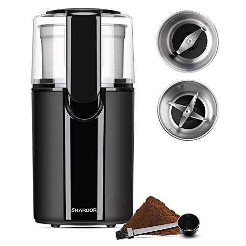 SHARDOR Coffee & Spice Grinder Electric, 2 Removable Stainless Steel Bowls for dry or wet grinding, Black.