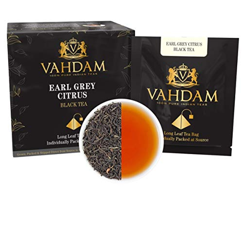 Earl Grey Citrus, 15 Tea Bags (PACK OF 2), 100% NATURAL, Long Leaf Pyramid Earl Grey Tea Bags, Aromatic & Delicious, Black Tea blended with Natural Oil of Bergamot, Packed at Source, Iced Tea Bags