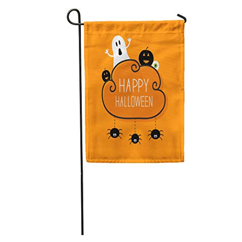 Semtomn Garden Flag Ghost Pumpkin Eyeball Three Hanging Spiders Happy Halloween Cloud Orange Home Yard House Decor Barnner Outdoor Stand 12x18 Inches Flag]()