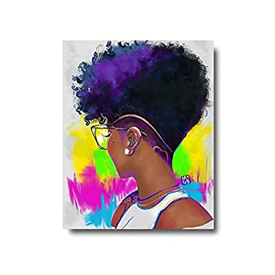 Wall Art Framed Oil Paintings Printed on Canvas for Home Decorations Home Decor Modern Artwork Hanging for Living Room Bedroom, Ready to Hang-Black Woman