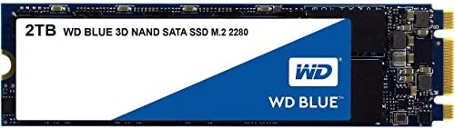 Western Digital 2TB WD Blue 3-D NAND Internal PC SSD - SATA III 6 Gb/s, M.2 2280, Up to 560 MB/s - WDS200T2B0B