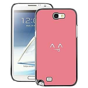 A-type Arte & diseño plástico duro Fundas Cover Cubre Hard Case Cover para Samsung Note 2 N7100 (Tongue Smiley Japanese Cute Emoticon)