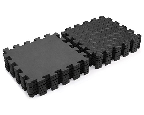 Yes4All Interlocking Exercise Mat High Quality Eva Foam Mat (Black - 12 pcs)