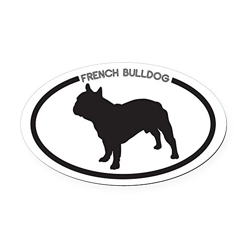 CafePress - French Bulldog Silhouette Oval Car Magnet - Oval Car Magnet, Euro Oval Magnetic Bumper Sticker (Dog Silhouette Magnet)