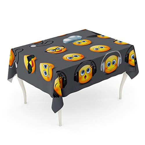 Tarolo Rectangle Tablecloth 52 x 70 Inch Yellow Doctor Emoticons Smiley Halloween Hat Smile Ball Chat Table Cloth -