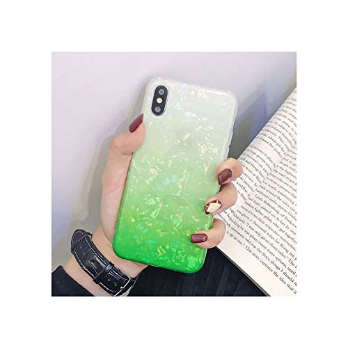 Lespai Glitter Phone Case for iPhone 7 8 Plus Dream Shell Pattern Cases for iPhone XR XS Max 7 6 6S Plus Soft TPU Silicone Cover,AC5232 Green,for iPhone 6 6S