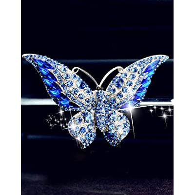 Bestbling Bling Crystal Car Fragrance Butterfly Car Diffuser Air Freshener with Vent Clip (Blue): Automotive