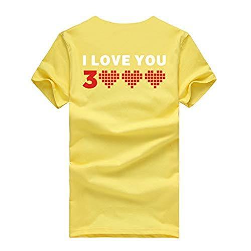 Emimarol Women Man Couple T Shirt Letter Printed T-Shirt Short Sleeve Loose Tops Blouse T Shirt Yellow ()