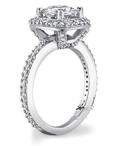 Gowe Centre 3carat rond brillant Halo Ascd Lab Cultivées Diamant solide 9K Or blanc diamant Bague de fiançailles de mariage Diamant