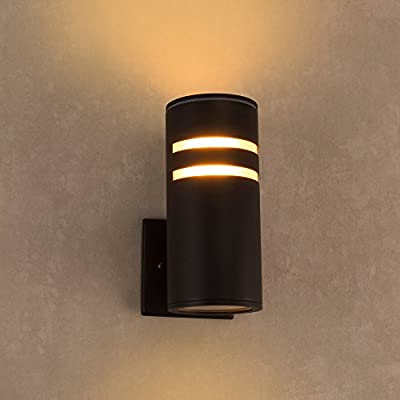 Outdoor Wall Light, Naturous PLW02 Waterproof Outdoor Porch Light, Modern Wall Sconce Painted Black, UL Listed