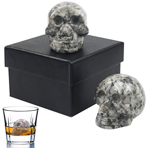 Vodolo Whiskey Stones, 100% Hand Carved Skull Wine Stone Reusable Beverage Granit Chilling Stones Bar Ice Cubes 2 Set, Gift Box Included