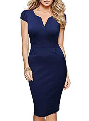 Miusol Women's Classicial V Neck Retro Business Bodycon Pencil Dress