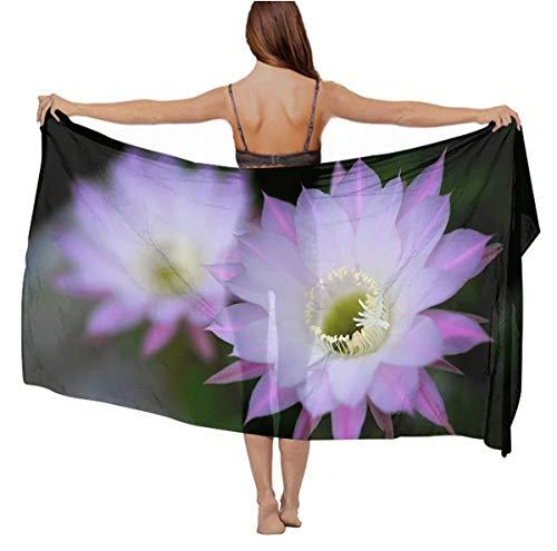 - Stylish Light Scarves - Wedding Evening Party Swimwear Scarves Cashmere Feel Head Wrap Long Summer Elegant Wrap Paisley Shawl - Purple Fig Cactus Flower Chiffon Scarves