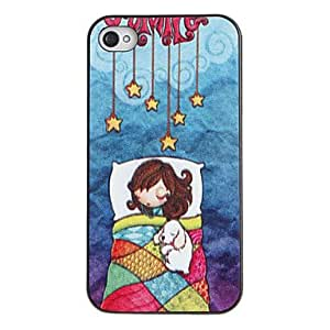 Happy Sleeping Beauty Pattern PC Hard Case with Black Frame for iPhone 4/4S