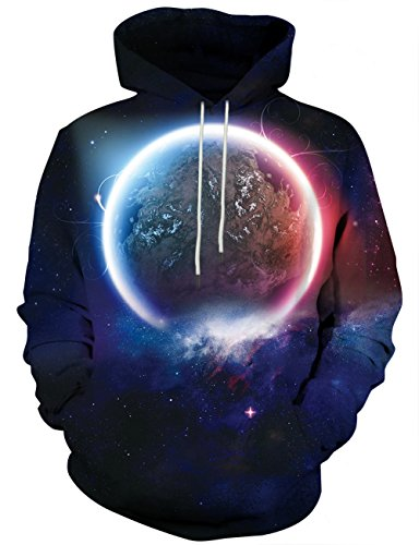 Yasswete Unisex Galaxy Outerspace Print Casual Sports Hoodies