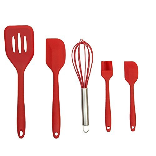 Silicone Kitchen Baking Utensil Set,Spatula Spoon Mixing Basting Brush Egg Whisk,Silicone Anti-Bacterial Kitchen Utensils Set in Hygienic Solid Coating(5 Piece Red).