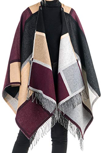 Angiola Made In Italy – Women's Wool Geometric Patchwork Cape 100% Made In Italy - Elegant And Warm (Black, Bordeaux, Beige)