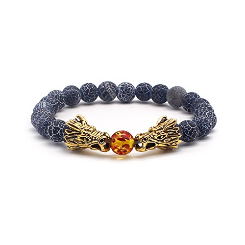Head Charm Gold Plated - Vintage Gold Plated Dragon Charm Bracelet Head 8mm Beads Chakra Rock Onyx Prayer Bracelet