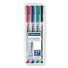 Lumocolor STAEDTLER Fine Non-Permanent Marker, 4 Pack (316 WP4)