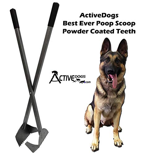 Activedogs Best Ever Dog Poop Scooper - All Aluminum Design Heavy Duty & Durable Waste Removal Shovel Scoop Tool - Built to Last - Made in The USA (Powder Coated Teeth)