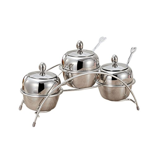 (MS Stainless Steel Seasoning Jar Set Creative Seasoning Box Cruet Kitchen Supplies Salt Pots Sugar Bowl Rack (Size :)