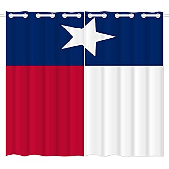 HommomH 24 x 36 inch Curtains (2 Panel) Grommet Top Darkening Blackout Room Texas State Flag