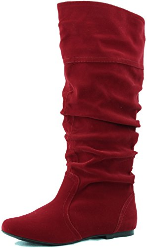 Qupid Womens Neo144 Leatherette Basic Slouchy Knee High Flat Boot8.5 B(M) USRed Velvet.Red Velvet