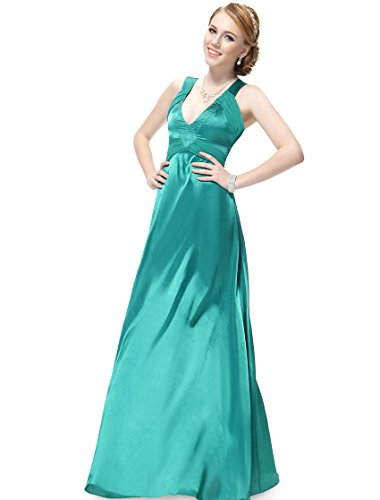 Ever Pretty Charming Pleated V Neck Crystal Beads Evening Prom Gowns 09376, HE09376GR12, Green, 10US
