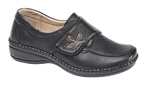 Boulevard Donna extra largo Eee Fit velcro scarpe casual misure 3–8rosso scuro