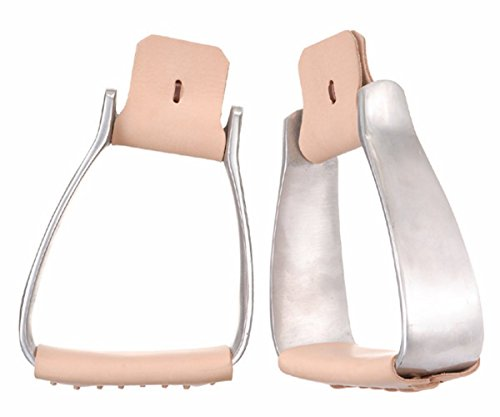 Western Roping Horse Saddle Stirrups Angled Slanted Aluminum Leather Tread 5105 (Saddle Roping Western)