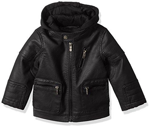 Urban Republic Baby Boys Artsy Faux Leather Jacket with Fleece Hoodie, Black, 18M