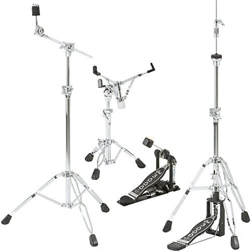 Weight Single Braced Snare Drum - DW DWCP3000PK Drumset Hardware Pack with 3300 Snare Drum Stand, 3500 Hi-Hat Stand, 3700 Boom Cymbal Stand and 3000 Single Bass Drum Pedal