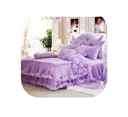 Bedspread Lace 8 Pieces Set Pink Red Violet Pure Cotton Satin Jacquard Princess Wedding Bed Dreambed Bedding,Violet,1.8M Bed