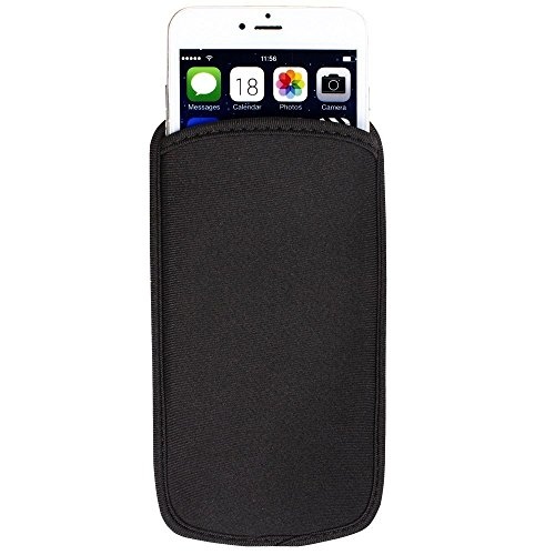 Black Universal Neoprene Shock Absorbing proof Pouch Sleeve Case for iPhone X / iPhone 8 Plus / Samsung Galaxy Note 8 / S8 Active / J7 Pro / Motorola Moto ()