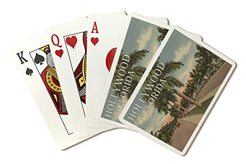(Hollywood, Florida - Boulevard and Vintage Cars - Vintage Postcard (Playing Card Deck - 52 Card Poker Size with Jokers) )