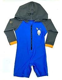 LabsByMAKO MAKO Baby/Toddler Hooded Swim Suit UPF 50+ One Piece Rash Guard Sun Suit