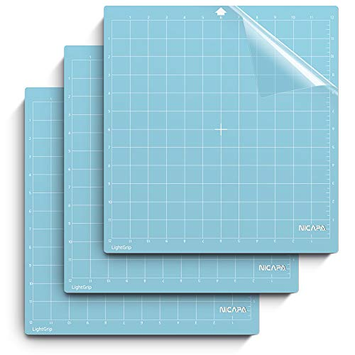 Nicapa Cutting Mat for Silhouette Cameo 3/2/1 [Light-Grip,12x12 inch 3pack] Adhesive&Sticky Non-Slip Flexible Square Gridded Blue Cut Mats Replacement Accessories Set Matts Vinyl Craft Sewing Cloth