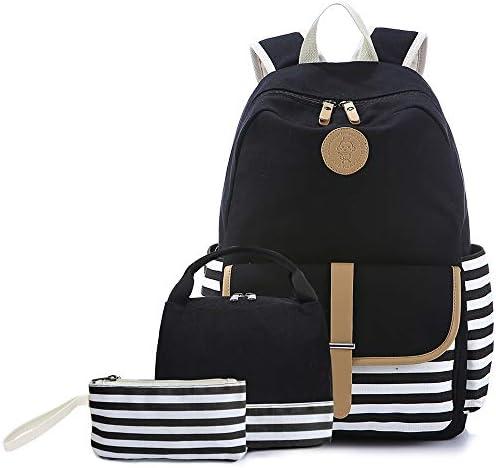 Sqodok School Backpack, Teens Girls Bookbag Daypack Shoulder Bag Laptop Bag, Unisex Fashion Rucksack Laptop Travel Bag College Bookbag BlackStriped-3pcs